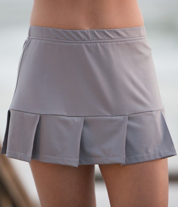 Pearl Gray Pleated Skorts - From Petitie to Plus Sizes Tennis Skirts
