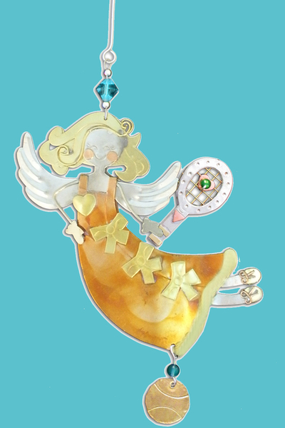 Amber Tennis Angel Christmas Ornament - Receive Free with Purchase | Tennis Christmas Ornaments