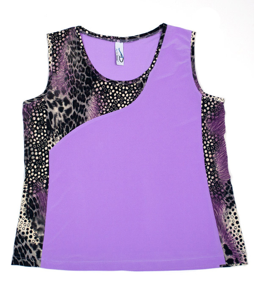 Animal Abstract and Dark Lavender Advantage Tennis Top for petite to tall women