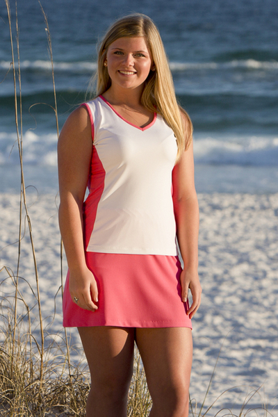 Size Medium - Pink and White Edge Top - Matching Skirt, also on Clearance! | Tennis Tops and Tennis Dresses. Perfect on and off the courts