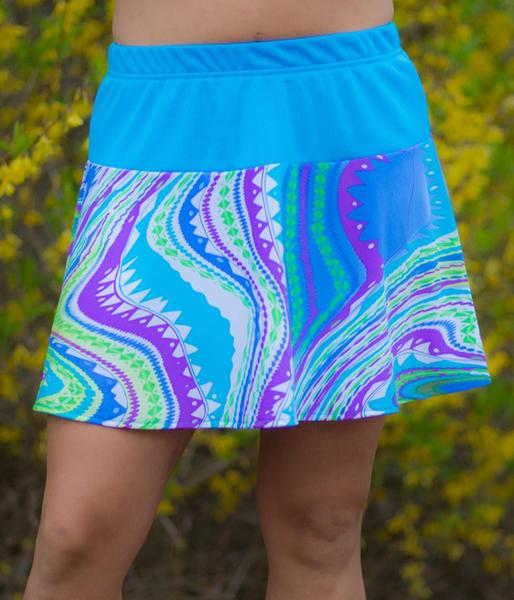 Flounce Skirt in Sporty Turquoise and Virgo - Made for the Small, Tall, Curvy and Strong Woman