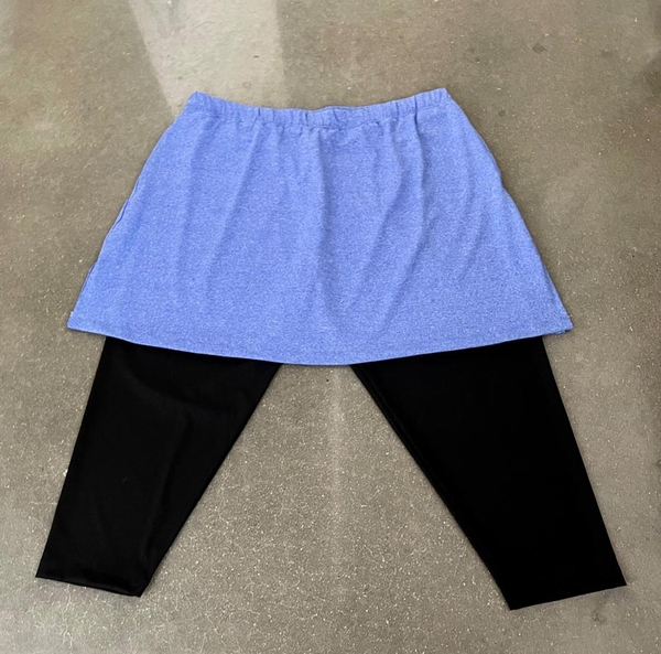 Size 2X - Blue Fusion FTM Skirt with Attached Black Capris - Shallow Pockets | Close Out Sale