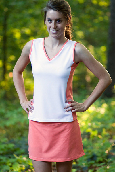 Size Small - Summer Melon and White Edge Tennis Top | New Arrivals - Tops, Skirts and Gifts