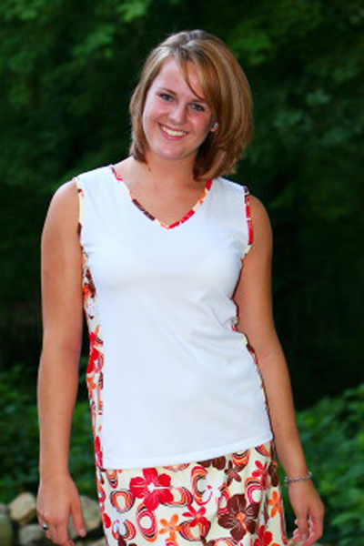 Size Medium - Tropical Paradise and White Edge Tennis Top | Tennis Tops - Design Yours For Free