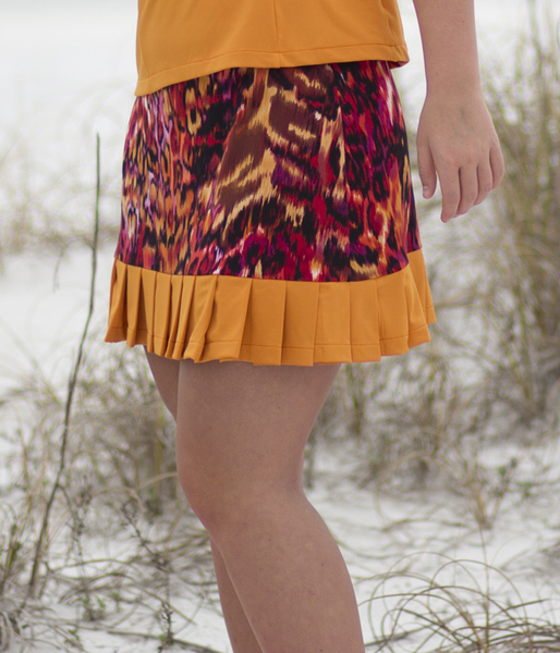 Wild Card Tennis Skirt in Wildfire! and Amber