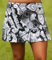 Abstract Gray Pleated Tennis Skirt - Without Shorts