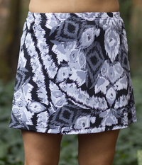 Image Size Medium - Abstract Gray A Line Skirt with Attached Black Shorts