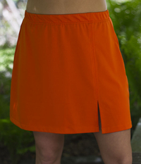 Image Sassy Slit Tennis Skirt Featured in Athletic Orange - No Shorts
