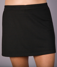 Black Nylon Lycra A Line Tennis Skirt - Without Shorts