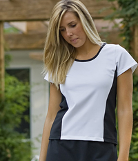 Image Size Large - White and Black Wave Top with Cap Sleeves