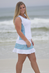 Image Medium - Color Block Tennis Top Featured in Blue Paisley and White