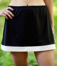 Image Size Small- Border Skirt Featured in Black/White - With Shorts