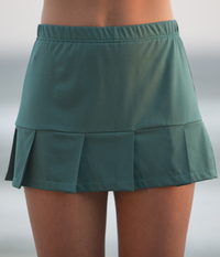 Image Pleated Tennis Skirt with Shorts Featured in Deep Emerald Green - Fabric Alert!