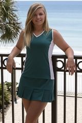 Image Size Large - Edge Tennis Top Featured in Deep Emerald Green and White