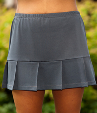 Image Pleated Tennis Skirt Featured in Pearl or Charcoal Gray - No Shorts