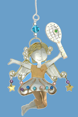 Image Joy Tennis Angel Ornament Exquisitely Crafted by Hand - SALE!