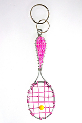 Pink Tennis Racket Key Chain