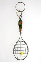 Image Multi Colored Tennis Racket Key Chain