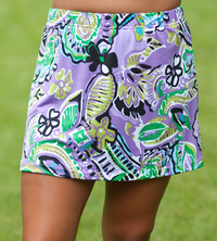 Lavender, Lime and More A Line Tennis Skirt With Built In Compression Shorts