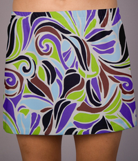 Image Limited Abstract Swirl A Line Tennis Skirt- - With Shorts - Custom
