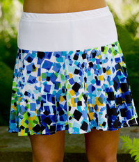 Image Flounce Tennis Skirt Featured In Lime and Blue Abstract - No Shorts