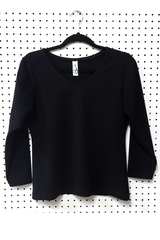 Image A V Neck Tennis Top with Long Sleeves featured in Performance Black