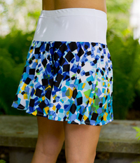 Image Size Medium - Lime and Blue Abstract Flounce Tennis Skirt - No Shorts