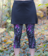Image Size Large - Black Free To Move Skirt & Attached Volcano Capris - Shorter Length