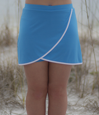 Image Size Large - Turquoise Blue Overlap Skirt - With Shorts