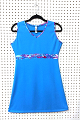 Image Size Small - Sporty Turquoise and Fun Match Point Dress - Longer Length