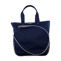 Image Navy Cotton Canvas Tennis Bag With Gray Trim