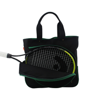 Image Black Cotton Canvas Tennis Bag With Emerald Trim - Gift with Purchase