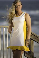 Image Size Medium - Golden Yellow and Performance White Ruffled Tennis Dress