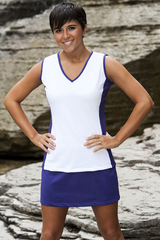 Image Edge Tennis Top Featured in Deep Purple/White