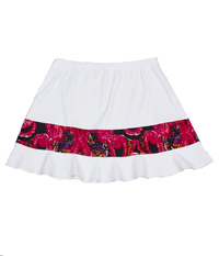 Image Rally Ruffle Tennis Skirt in White and Red/Pink Swirl - No Shorts