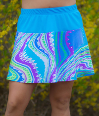 Image A Flounce Tennis Skirt in Sporty Turquoise and Virgo - No Shorts