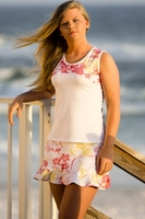 Pink Floral Yoke Tennis Top with Side Vents