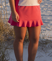 Image Size Large - Ruffled Tennis  Skirt Featured in Pink - No Shorts