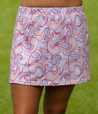 Purple Paisley A Line Tennis Skirt - Without Shorts