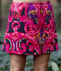 Image A Line Tennis Skirt Featured in Red and Pink Swirl or Ocean Wave - No Shorts