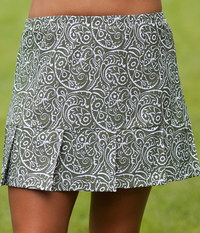 Size 1X - Pleated Tennis Skirt featured in Sage Paisley - No Shorts - 30% Off