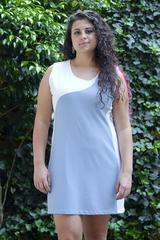 Image Size X Small - Smoky Blue and White Advantage Tennis Dress