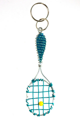 Turquoise Blue Beaded Tennis Racket Key Chain