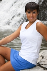 Image a V Neck Tennis and ActiveWear Top Featured in White, Luna or Sporty Fig
