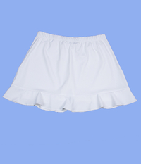 Size XL - Ruffled Skirt Featured in White - With Shorts